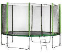 Батут Atleto 465 см с двойными ногами с сеткой зеленый