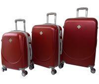 Набор чемоданов Bonro Smile 3 штуки с двойными колесами бордовый