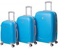 Набор чемоданов Bonro Smile 3 штуки с двойными колесами голубой