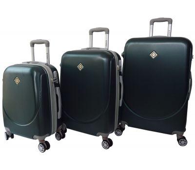 Набор чемоданов Bonro Smile 3 штуки с двойными колесами изумрудный