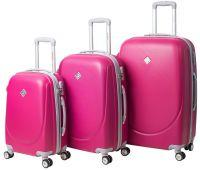 Набор чемоданов Bonro Smile 3 штуки с двойными колесами малиновый