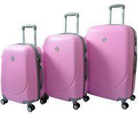 Набор чемоданов Bonro Smile 3 штуки с двойными колесами розовый