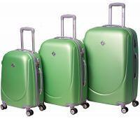 Набор чемоданов Bonro Smile 3 штуки с двойными колесами салатовый