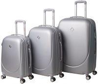 Набор чемоданов Bonro Smile 3 штуки с двойными колесами серебряный