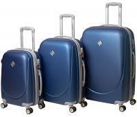 Набор чемоданов Bonro Smile 3 штуки с двойными колесами синий