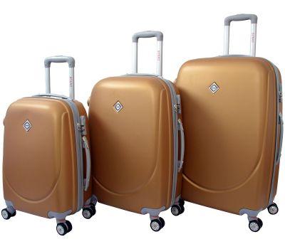 Набор чемоданов Bonro Smile 3 штуки с двойными колесами золотой