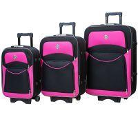 Набор чемоданов Bonro Style 3 штуки черно-розовый