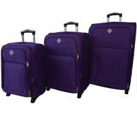 Набор чемоданов Bonro Tourist 3 штуки на 2-х колесах фиолетовый