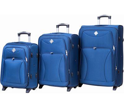 Набор чемоданов Bonro Tourist 3 штуки на 2-х колесах синий