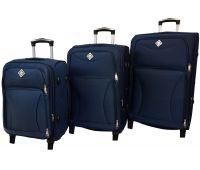 Набор чемоданов Bonro Tourist 3 штуки на 2-х колесах темно-синий