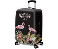 Чехол для чемодана Dorami средний M Flamingo black