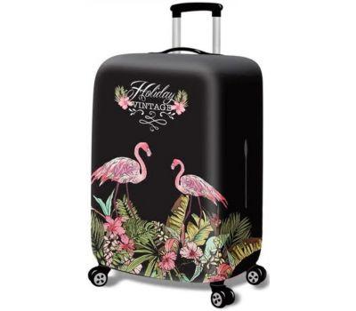 Чехол для чемодана Dorami большой L Flamingo black