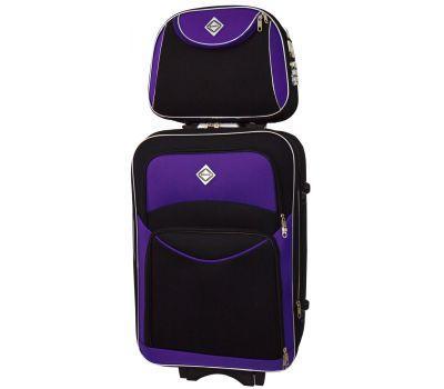 Комплект чемодан и кейс Bonro Style большой черно-фиолетовый