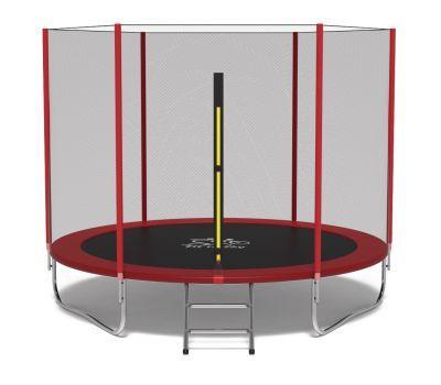Батут FitToSky 312 см с защитной сеткой и лестницей красный