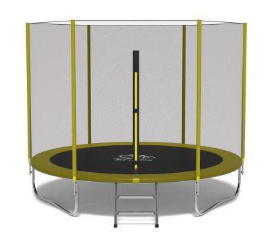 Батут FitToSky 312 см с защитной сеткой и лестницей желтый