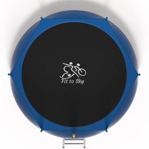 Батут FitToSky 312 см с защитной сеткой и лестницей синий