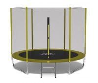 Батут FitToSky 252 см с защитной сеткой и лестницей желтый
