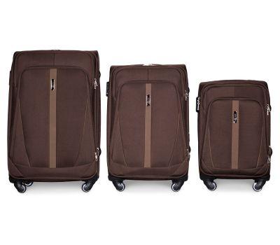 Набор чемоданов Fly 1706 на 4-х колесах 3 штуки коричневый