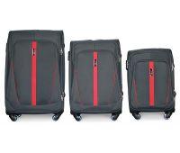 Набор чемоданов Fly 1706 на 4-х колесах 3 штуки серый