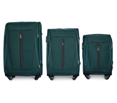 Набор чемоданов Fly 1706 на 4-х колесах 3 штуки зеленый