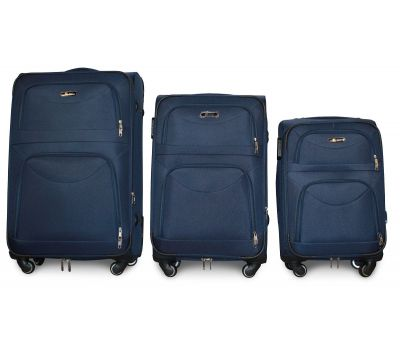 Набор чемоданов Fly 6802 на 4-х колесах 3 штуки синий
