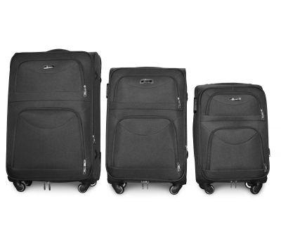 Набор чемоданов Fly 6802 на 4-х колесах 3 штуки серый