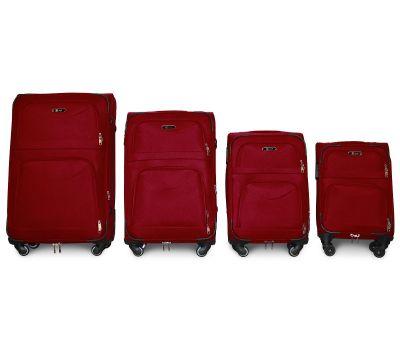 Набор чемоданов Fly 6802 на 4-х колесах 4 штуки бордовый