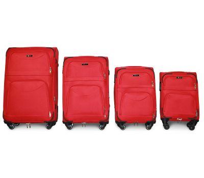 Набор чемоданов Fly 6802 на 4-х колесах 4 штуки красный