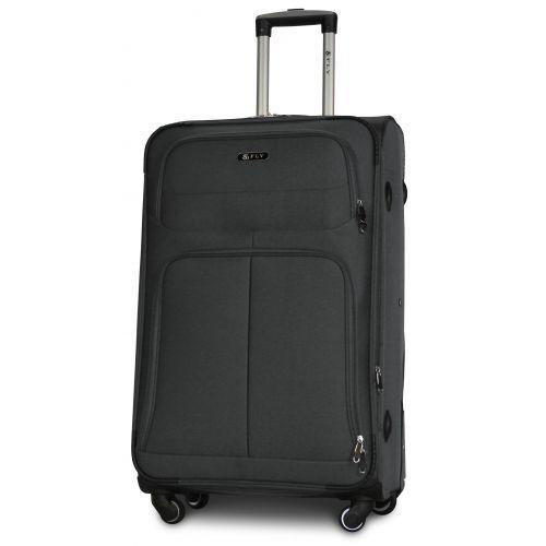 Набор тканевых чемоданов Fly 8279 на 4-х колесах 3 штуки серый