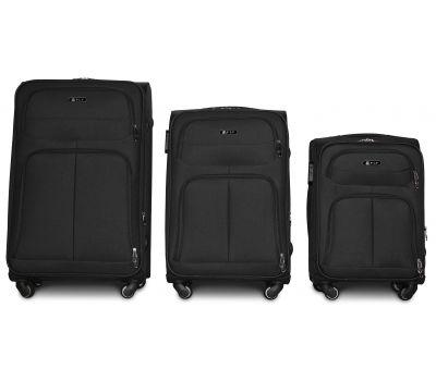 Набор тканевых чемоданов Fly 8279 на 4-х колесах 3 штуки черый