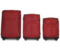 Набор тканевых чемоданов Fly 8279 на 4-х колесах 3 штуки бордовый