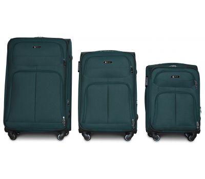 Набор тканевых чемоданов Fly 8279 на 4-х колесах 3 штуки зеленый