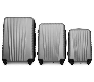Набор чемоданов Fly 8844 3 штуки серебряный