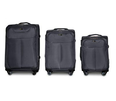 Набор тканевых чемоданов Fly 1807 на 4 колесах 3 штуки серый