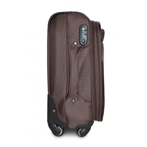 Тканевый чемодан Fly 1807 маленький S на 4 колесах кофейный