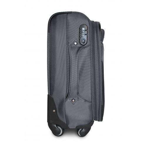 Тканевый чемодан Fly 1807 большой L на 4 колесах серый