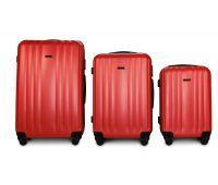 Набор пластиковых чемоданов на колесах Fly 614 3в1 красный
