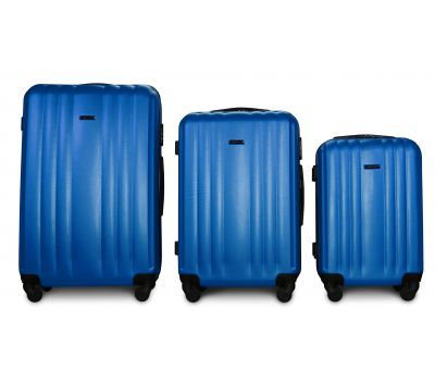 Набор пластиковых чемоданов на колесах Fly 614 3в1 морская волна