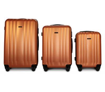 Набор пластиковых чемоданов на колесах Fly 614 3в1 оранжевый