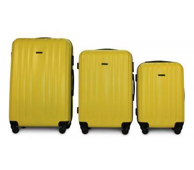 Набор пластиковых чемоданов на колесах Fly 614 3в1 желтый