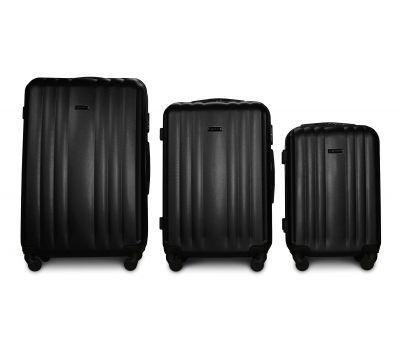Набор пластиковых чемоданов на колесах Fly 614 3в1 черный