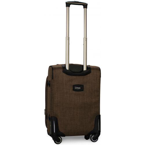 Тканевый чемодан Ormi 701 маленький S на 4-х колесах коричневый
