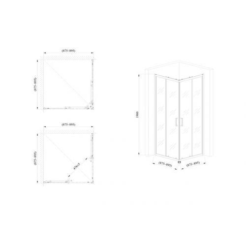 Стеклянная душевая кабина AVKO Glass 1221B 90x90x190 Clear