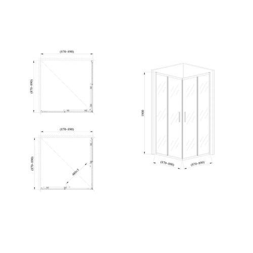 Стеклянная душевая кабина AVKO Glass 1421, 190х90х90 Clear