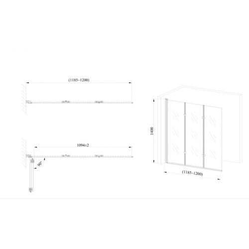 Стеклянная шторка для ванны AVKO Glass 542-7 120х140 Frosted