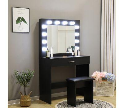 Туалетный столик + табурет AVKO ADT 001 Black LED подсветка