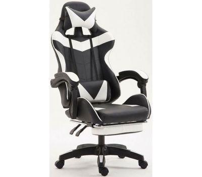 Кресло геймерское Vecotti GT White с подставкой черно-белое