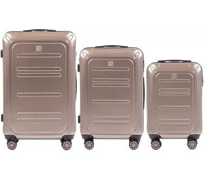 Набор чемоданов из поликарбоната Wings Imperial 175 3 штуки бронзовый