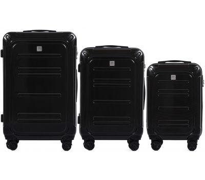 Набор чемоданов из поликарбоната Wings Imperial 175 3 штуки черный