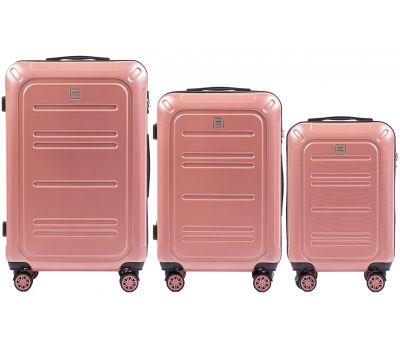 Набор чемоданов из поликарбоната Wings Imperial 175 3 штуки розовый